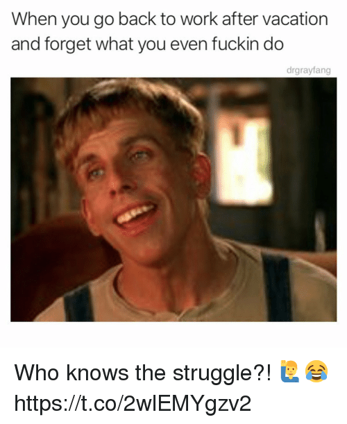 Struggle, Work, and Vacation: When you go back to work after vacation  and forget what you even fuckin do  drgrayfang Who knows the struggle?! 🙋‍♂️😂 https://t.co/2wlEMYgzv2