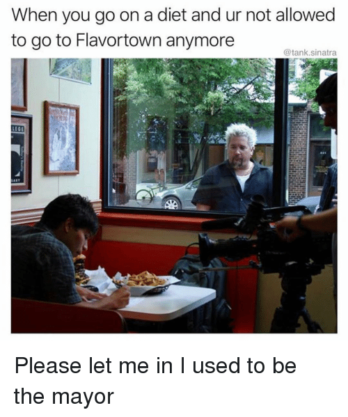 Funny, Diet, and Let Me In: When you go on a diet and ur not allowed  to go to Flavortown anymore  LECI Please let me in I used to be the mayor