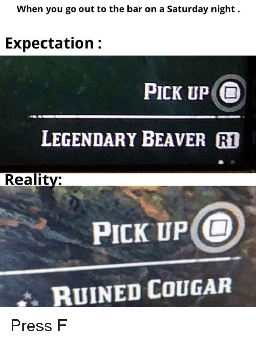 saturday night: When you go out to the bar on a Saturday night.  Expectation:  PICK UP O  LEGENDARY BEAVER R1  Reality:  PICK UP O  RUINED COUGAR Press F