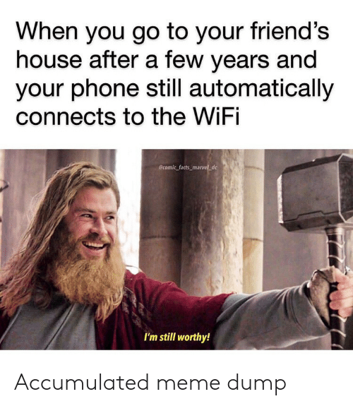 automatically: When you go to your friend's  house after a few years and  your phone still automatically  connects to the WiFi  Ecomic facts marvel_dc  I'm still worthy! Accumulated meme dump