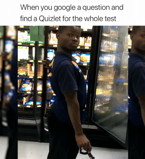 Google, Quizlet, and Test: When you google a question and  find a Quizlet for the whole test