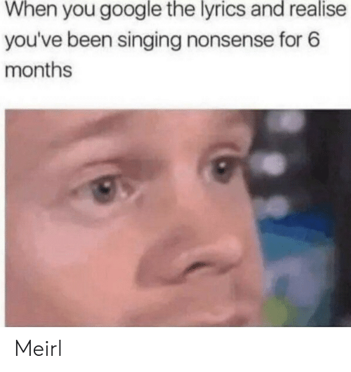 Nonsense: When you google the lyrics and realise  you've been singing nonsense for 6  months Meirl