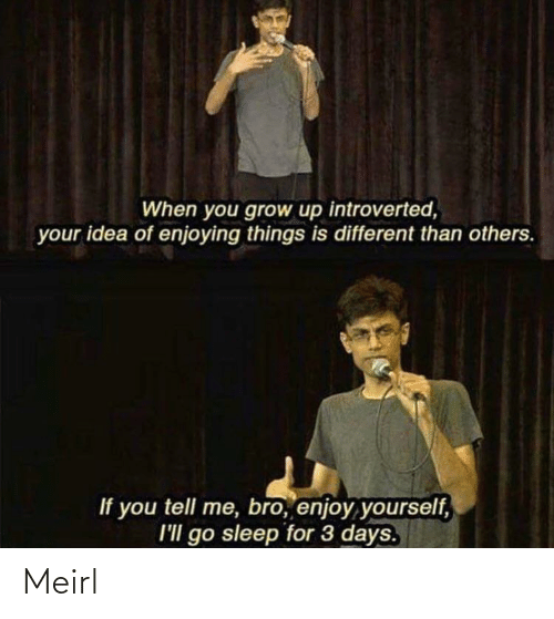 Sleep, MeIRL, and Idea: When you grow up introverted,  your idea of enjoying things is different than others.  If you tell me, bro, enjoy yourself,  I'll go sleep for 3 days. Meirl
