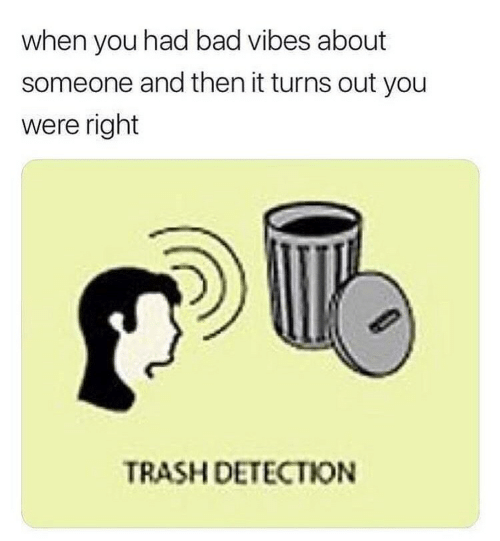 Bad, Trash, and You: when you had bad vibes about  someone and then it turns out you  were right  TRASH DETECTION