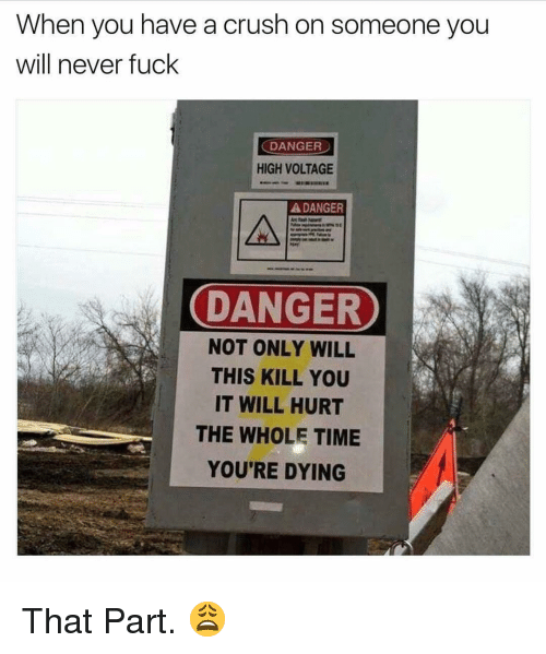 Crush, Fuck, and Time: When you have a crush on someone you  will never fuck  DANGER  HIGH VOLTAGE  DANGER  DANGER  DANGER  NOT ONLY WILL  THIS KILL YOU  IT WILL HURT  THE WHOLE TIME  YOU'RE DYING That Part. 😩