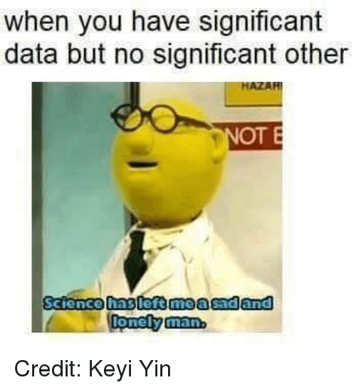 significant other: when you have significant  data but no significant other  OT E  Science haslest moasadand Credit: Keyi Yin