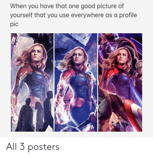 profile pic: When you have that one good picture of  yourself that you use everywhere as a profile  pic All 3 posters