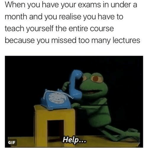 Gif, Help, and You: When you have your exams in under a  month and you realise you have to  teach yourself the entire course  because you missed too many lectures  Help...  GIF