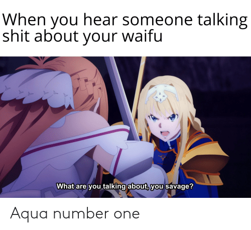 Anime, Savage, and Shit: When you hear someone talking  shit about your waifu  What are you talking about, you savage? Aqua number one