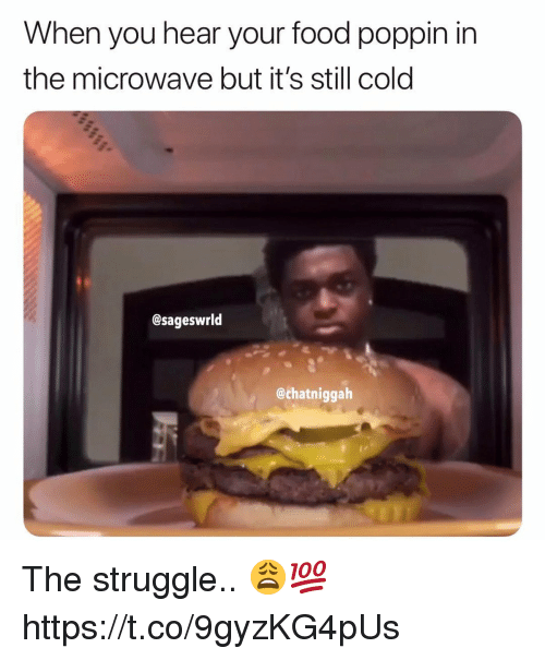 Food, Struggle, and Cold: When you hear your food poppin in  the microwave but it's still cold  @sageswrld  @chatniggalh The struggle.. 😩💯 https://t.co/9gyzKG4pUs