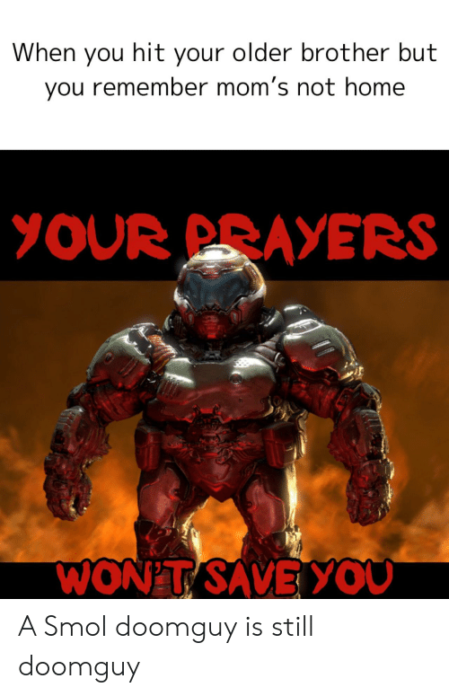 Older Brother: When you hit your older brother but  you remember mom's not home  YOUR PRAYERS  WON'T SAVEYOU A Smol doomguy is still doomguy