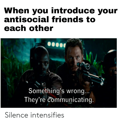 Antisocial: When you introduce your  antisocial friends to  each other  Something's wrong...  They're communicating. Silence intensifies