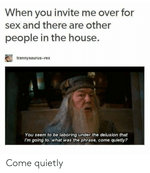 People In: When you invite me over for  sex and there are other  people in the house.  trannysaurus--rex  You seem to be laboring under the delusion that  I'm going to, what was the phrase, come quietly? Come quietly