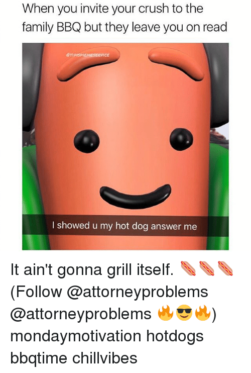 grills: When you invite your crush to the  family BBQ but they leave you on read  @nMSMEMESERVICE  I showed u my hot dog answer me It ain't gonna grill itself. 🌭🌭🌭 (Follow @attorneyproblems @attorneyproblems 🔥😎🔥) mondaymotivation hotdogs bbqtime chillvibes