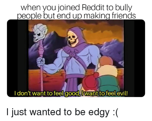 Friends, Reddit, and Edgy: when you joined Reddit to bully  people but end up making friends  I don't want to feelgood,Iwant to feel evil! I just wanted to be edgy :(