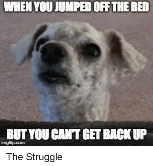 Get Back Up: WHEN YOU JUMPED OFF THE BED  BUT YOU CANT GET BACK UP The Struggle
