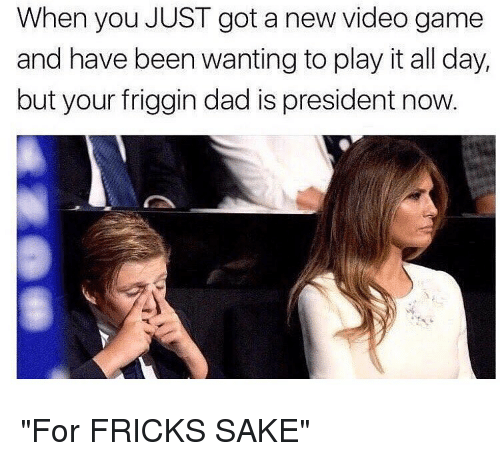 "Frick, Memes, and New Videos: When you JUST got a new video game  and have been wanting to play it all day,  but your friggin dad is president now. ""For FRICKS SAKE"""