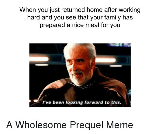 Family, Meme, and Home: When you just returned home after working  hard and you see that your family has  prepared a nice meal for you  I've been looking forward to this. <p>A Wholesome Prequel Meme</p>