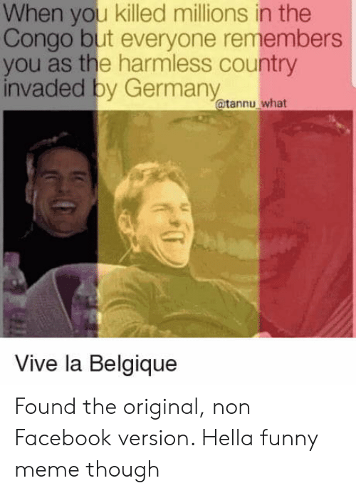 congo: When you killed millions in the  Congo but everyone remembers  you as the harmless country  invaded by Germany  @tannu what  Vive la Belgique Found the original, non Facebook version. Hella funny meme though