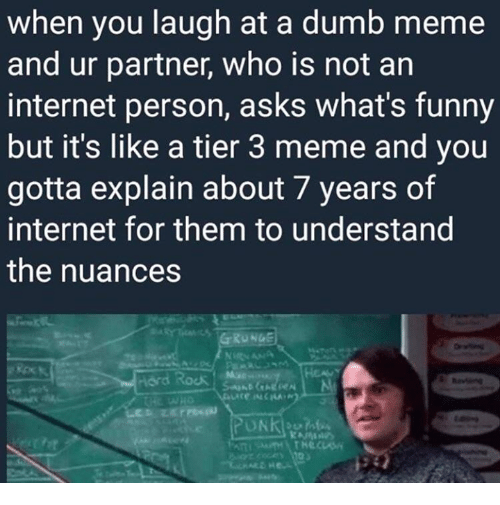 Dumb, Funny, and Internet: when you laugh at a dumb meme  and ur partner, who is not an  internet person, asks what's funny  but it's like a tier 3 meme and you  gotta explain about 7 years of  internet for them to understand  the nuances  RUNGE  Hord Rock Mue