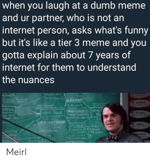 Dumb, Funny, and Internet: when you laugh at a dumb meme  and ur partner, who is not an  internet person, asks what's funny  but it's like a tier 3 meme and you  gotta explain about 7 years of  internet for them to understand  the nuances  Ni  Hord Rock Ma Meirl