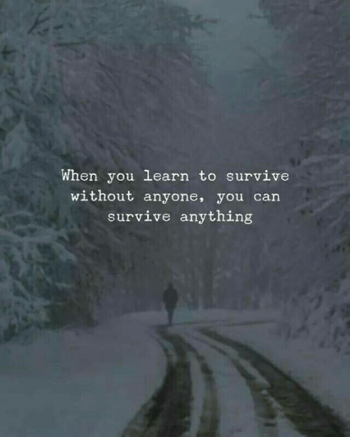 Can, You, and When You: When you learn to survive  without anyone, you can  survive anything