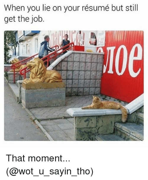 When You Lie On Your Resume: When you lie on your résumé but still  get the job.  Loe That moment... (@wot_u_sayin_tho)