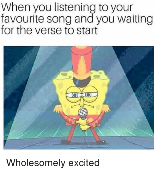 Waiting..., Song, and You: When you listening to your  favourite song and you waiting  for the verse to start Wholesomely excited