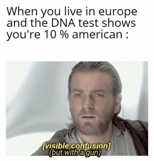 Star Wars, American, and Europe: When you live in europe  and the DNA test shows  you're 10 % american  visible confusion]  (but with a gun)