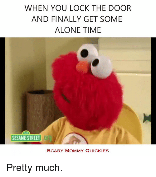 Quicky: WHEN YOU LOCK THE DOOR  AND FINALLY GET SOME  ALONE TIME  SESAME STREET  SCARY MOMMY QUICKIES Pretty much.