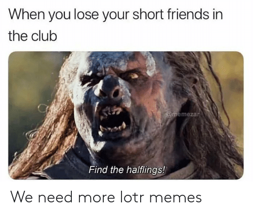 Lotr Memes: When you lose your short friends in  the club  @memezar  Find the halflings! We need more lotr memes