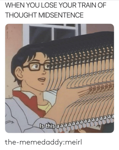 Tumblr, Blog, and Train: WHEN YOU LOSE YOUR TRAIN OF  THOUGHT MIDSENTENCE the-memedaddy:meirl