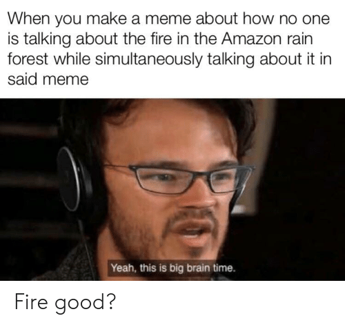 Amazon, Fire, and Meme: When you make a meme about how no one  is talking about the fire in the Amazon rain  forest while simultaneously talking about it in  said meme  Yeah, this is big brain time. Fire good?