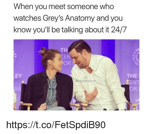 Memes, Grey's Anatomy, and Watches: When you meet someone who  watches Grey's Anatomy and you  know you'll be talking about it 24/7  TH  EN  OR  THE  ZENT  OR  EY  IG  okepnershunt  DIA https://t.co/FetSpdiB90