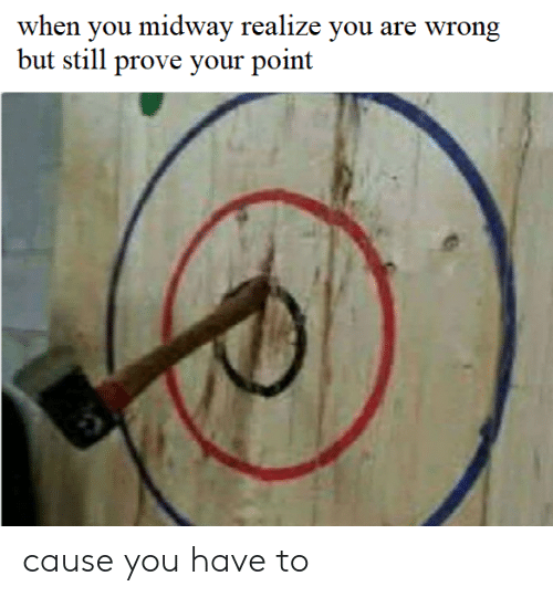 You Are Wrong: when you midway realize you are wrong  but still prove your point cause you have to