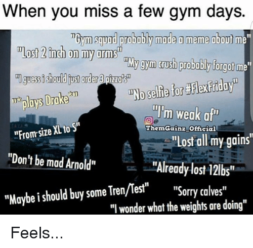 """Calv: When you miss a few gym days.  Tbym squad probably made a meme about m  ost 2inch on my arms  gym crush probably forgot  me""""  guessishould order pizza's  T ploys Drake  """"I'm weak a  """"From XL to  size ThemGainz Official  """"Lost all my gains'  """"Don't be mad Arnold""""  """"Already lost 12lbs  """"Maybe should buy some Tren/mest""""  Sorry calves""""  """"I wonder what the weights are doing"""" Feels..."""