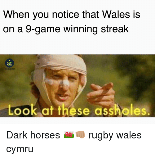 Horses, Memes, and Game: When you notice that Wales is  on a 9-game winning streak  RUGBY  MEMES  nstagham  Look at these assholes. Dark horses 🏴󠁧󠁢󠁷󠁬󠁳󠁿👊🏽 rugby wales cymru