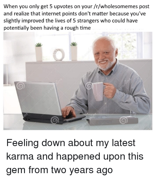 Internet, Karma, and Time: When you only get 5 upvotes on your /r/wholesomemes post  and realize that internet points don't matter because you've  slightly improved the lives of 5 strangers who could have  potentially been having a rough time <p>Feeling down about my latest karma and happened upon this gem from two years ago</p>
