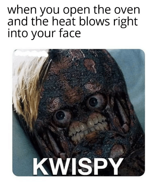 Heat: when you open the oven  and the heat blows right  into your face  KWISPY