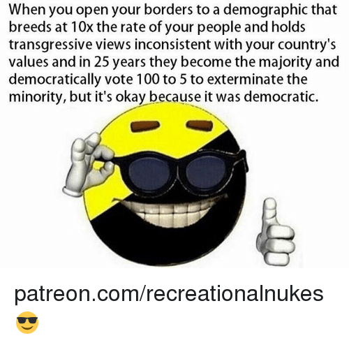 Memes, 25 Years, and 🤖: When you open your borders to a demographic that  breeds at 10x the rate of your people and holds  transgressive views inconsistent with your country's  values and in 25 years they become the majority and  democratically vote 100 to 5 to exterminate the  minority, but it's okay because it was democratic. patreon.com/recreationalnukes 😎