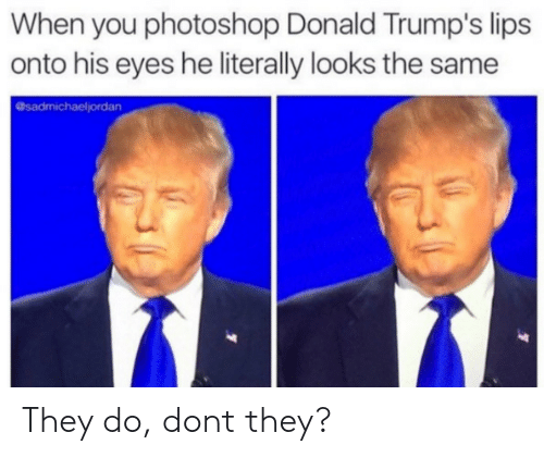 Photoshop, They, and You: When you photoshop Donald Trump's lips  onto his eyes he literally looks the same  @sadmichaeljordan They do, dont they?