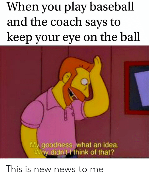 Baseball, News, and Reddit: When you play baseball  and the coach says to  keep your eye on the ball  My goodness. what an idea.  Why didn't think of that? This is new news to me