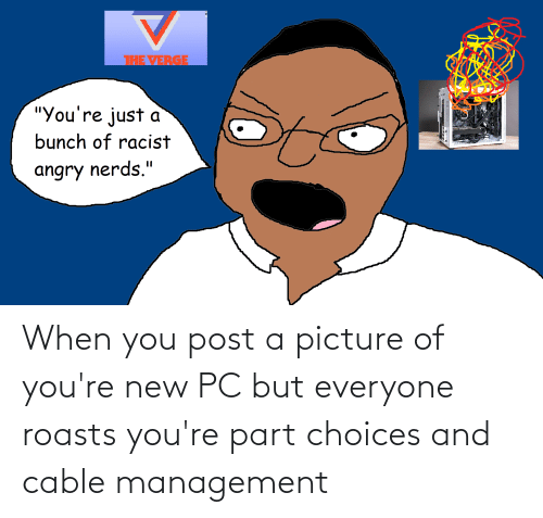 new: When you post a picture of you're new PC but everyone roasts you're part choices and cable management