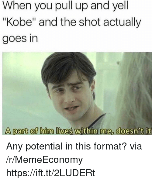 "Kobe, Via, and Format: When you pull up and yell  ""Kobe"" and the shot actually  goes in  A part of hirma lives within me doesni't it Any potential in this format? via /r/MemeEconomy https://ift.tt/2LUDERt"