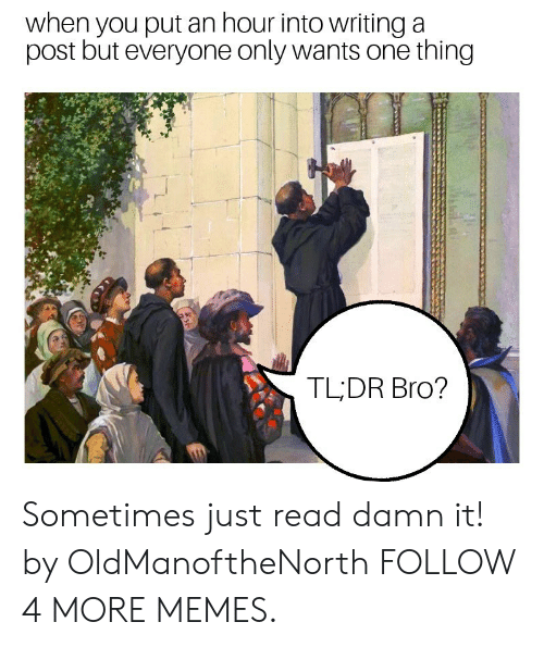 tldr: when you put an hour into writing a  post but everyone only wants one thing  TLDR Bro? Sometimes just read damn it! by OldManoftheNorth FOLLOW 4 MORE MEMES.