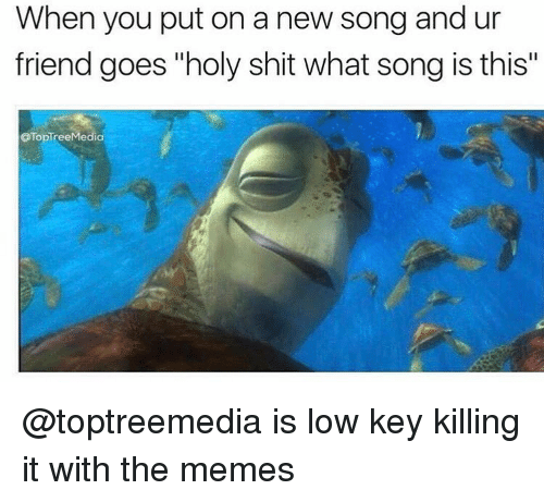 "Holi Shit: When you put on a new song and ur  friend goes ""holy shit what song is this""  OTopTree Media @toptreemedia is low key killing it with the memes"