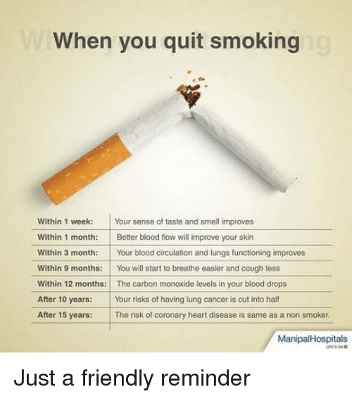 Smell, Smoking, and Cancer: When you quit smoking  Within 1 week Your sense of taste and smell improves  Within 1 month: Better blood flow will improve your skin  Within 3 month:Your blood circulation and lungs functioning improves  Within 9 months:You will start to breathe easier and cough less  Within 12 months: The carbon monoxide levels in your blood drops  After 10 years: Your risks of having lung cancer is cut into half  After 15 years: The risk of coronary heart disease is same as a non smoker.  ManipalHospitals Just a friendly reminder