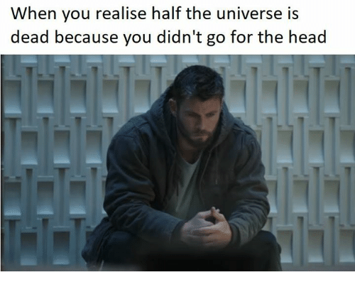 Head, Memes, and 🤖: When you realise half the universe is  dead because you didn't go for the head