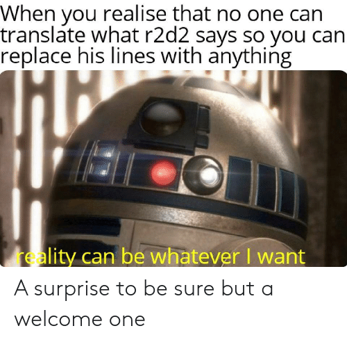 Replace: When you realise that no one can  translate what r2d2 says so you can  replace his lines with anything  reality can be whatever I want A surprise to be sure but a welcome one