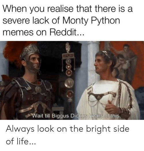 Wait Till: When you realise that there is a  severe lack of Monty Python  memes on Reddit...  Wait till Biggus Dickus  hears of this. Always look on the bright side of life…